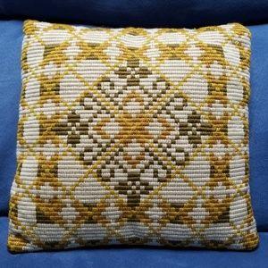 Vintage Mid-Century Crewel Accent Throw Pillow